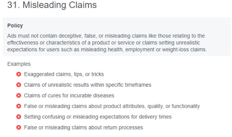 Facebook compliance - false claims