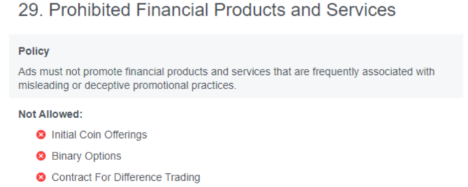 Facebook compliance policy - Financial offers